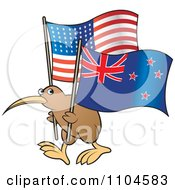 Clipart Kiwi Bird With New Zealand And USA Flags Royalty Free Vector Illustration