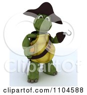 Clipart 3d Presenting Tortoise Pirate With A Peg Leg Hook Hand And Sword Royalty Free CGI Illustration by KJ Pargeter