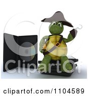 Clipart 3d Movie Or Software Tortoise Pirate Sitting On Illegal Bootleg Packaging Royalty Free CGI Illustration by KJ Pargeter
