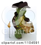 3d Hook Hand Tortoise Pirate Reading A Treasure Map