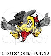 Clipart Yellow Smiley Emoticon Bandit Grinning And Shooting Two Revolvers Royalty Free Vector Illustration
