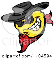Clipart Yellow Smiley Emoticon Bandit Grinning And Wearing A Bandana Royalty Free Vector Illustration