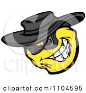 Clipart Yellow Smiley Emoticon Bandit Grinning Royalty Free Vector Illustration