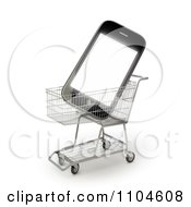 Clipart 3d Smartphone In A Shopping Cart 2 Royalty Free CGI Illustration