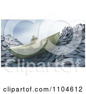 Clipart 3d Money Boat Floating On Coin Waves Royalty Free CGI Illustration