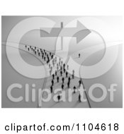 Clipart 3d Tiny People Approaching A Fork In The Road With All But One Person Going In One Direction 2 Royalty Free CGI Illustration