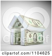 Clipart 3d House Made Of Stacks Of Cash Royalty Free CGI Illustration