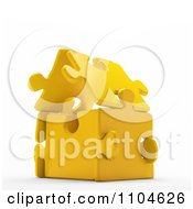 Clipart 3d Gold Puzzle Piece House Royalty Free CGI Illustration