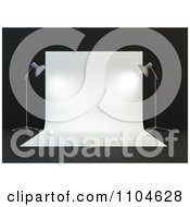 Clipart 3d Photography Studio Backdrop And Lamp Set On Black Royalty Free CGI Illustration