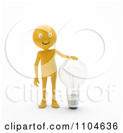 Clipart 3d Orange Person Standing With A Clear Light Bulb Royalty Free CGI Illustration by Mopic