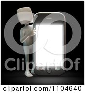 Clipart 3d White Person Holding Up A Smartphone 1 Royalty Free CGI Illustration
