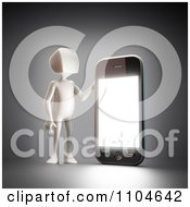Clipart 3d White Person Holding Up A Smartphone 3 Royalty Free CGI Illustration