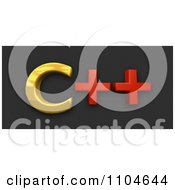 Clipart 3d Gold And Red Cpp Programming Language On Black Royalty Free CGI Illustration