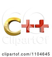 Clipart 3d Gold And Red Cpp Programming Language Royalty Free CGI Illustration