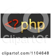 Clipart 3d Red And Gold Php Scripting Language On Black Royalty Free CGI Illustration