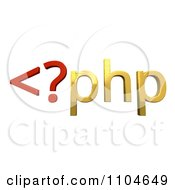 Clipart 3d Red And Gold Php Scripting Language Royalty Free CGI Illustration