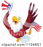 Clipart Happy American Bald Eagle With A Top Hat And Flag Royalty Free Vector Illustration