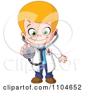 Clipart Happy Blond Doctor Boy Holding Out A Stethoscope Royalty Free Vector Illustration