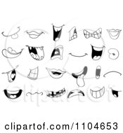 Clipart Black And White Mouths And Lips Royalty Free Vector Illustration by yayayoyo