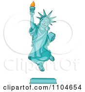 Clipart Happy Statue Of Liberty Jumping Royalty Free Vector Illustration