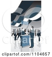 Clipart Man Checking In At A Ticket Booth At A Business Venue Royalty Free Vector Illustration