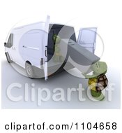 Clipart 3d Tortoises Loading Or Unloading A Refridgerator In A Van Royalty Free CGI Illustration