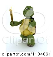 Clipart 3d Tortoise Running With The Olympic Torch Royalty Free CGI Illustration