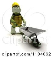 Clipart 3d Constructon Worker Tortoise Pushing A Wheel Barrow Royalty Free CGI Illustration