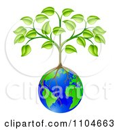 Clipart Sapling Tree Growing Roots Over A Globe Royalty Free Vector Illustration