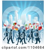 International Business People With Flag Chat Balloons Walking By A City Over Blue