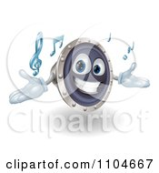 Clipart 3d Happy Speaker Mascot Playing Music Royalty Free Vector Illustration