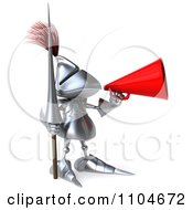 Clipart 3d Knight Announcing Through A Megaphone 2 Royalty Free CGI Illustration