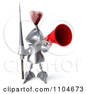 Clipart 3d Knight Announcing Through A Megaphone 3 Royalty Free CGI Illustration