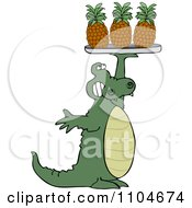 Clipart Alligator Serving Pineapple On A Tray Royalty Free Vector Illustration by djart