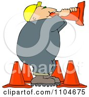Road Construction Worker Talking Through A Cone