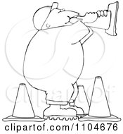 Clipart Outlined Road Construction Man Talking Through A Cone Royalty Free Vector Illustration