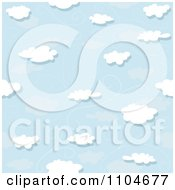 Clipart Seamless Puffy Cloud Wind And Blue Sky Background Pattern Royalty Free Vector Illustration by dero