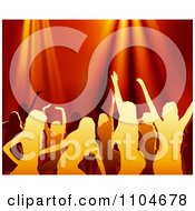 Clipart Silhouetted Women Dancing Under Red Lights Royalty Free Vector Illustration