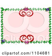 Vine And Heart Floral Frame With Pink Copyspace