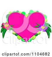 Pink Heart With Green Circles And Flowers