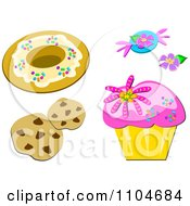 Donut Candy Flower Chocolate Chip Cookies And Cupcake