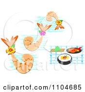 Clipart Seafood Shrimp With Waves And Sushi Royalty Free Vector Illustration by bpearth