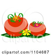 Plump Red Tomatoes And Flowers