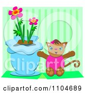 Happy Cat Sitting By A Potted Plant In A Vase Over Green Stripes