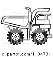 Clipart Black And White Dump Truck 1 Royalty Free Vector Illustration by Lal Perera