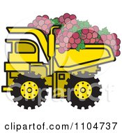 Clipart Yellow Dump Truck Hauling Red Grapes Royalty Free Vector Illustration by Lal Perera