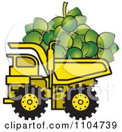 Clipart Yellow Dump Truck Hauling Coconuts Royalty Free Vector Illustration
