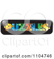 Clipart The Word Puzzles Formed With Colorful Pieces On A Black Bar Royalty Free Vector Illustration