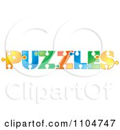 Poster, Art Print Of The Word Puzzles Formed With Colorful Pieces