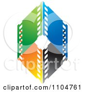 Clipart Green Blue Black And Orange Film Strips Formign A Diamond Royalty Free Vector Illustration by Lal Perera